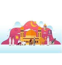 Eid adha mubarak with tiny people character design vector