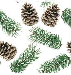 elegant watercolor christmas pinecones and pine vector image
