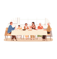 european family sitting at table together have vector image