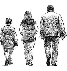 family on a walk vector image