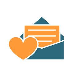 feedback letter with heart colored icon customer vector image