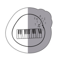 Figure piano instrument with note musical icon vector