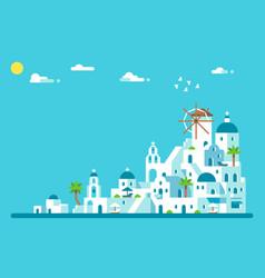 Flat design santorini island village vector