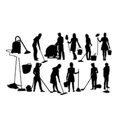 Floor cleaner silhouettes vector