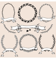 Floral monochrome design laurels wreaths frame vector