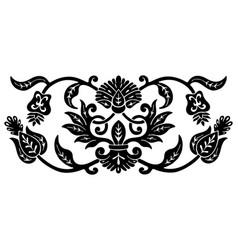 flower ethnic ornament black color vector image