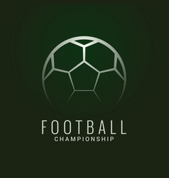 football championship logo soccer ball dark green vector image