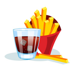 French fries and soda vector