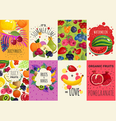 fruits berries 8 banners set vector image
