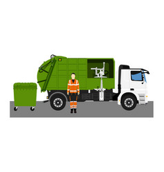 Garbage truck and sanitation worker vector