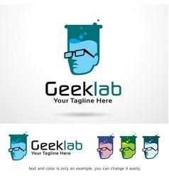 Geek lab logo template vector