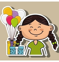 Girl balloons gifts party vector
