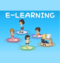 Girls and e-learning icon vector