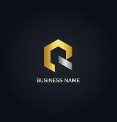gold polygon r initial company logo vector image