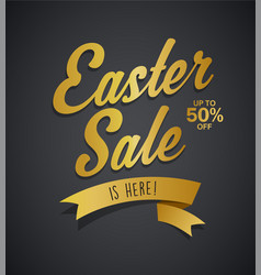 golden easter sale is here text with ribbon on vector image