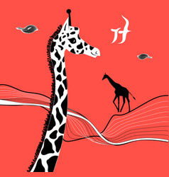 Graphic beautiful portrait a giraffe vector