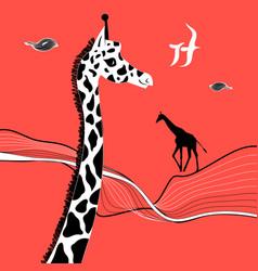 Graphic beautiful portrait of a giraffe vector