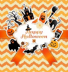 Halloween frame with stickers of celebration vector