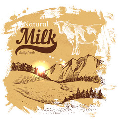 hand drawn sketch milk products background vintage vector image