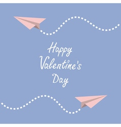Happy Valentines Day Love card Two origami paper vector image