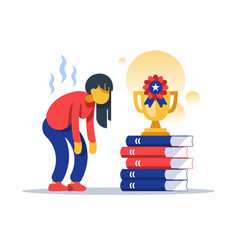 Hard working female student successful education vector