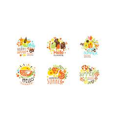 hello summer logo templates collection summer vector image