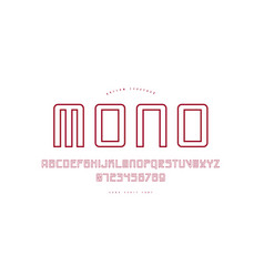 hollow monospaced sans serif font in cyber style vector image