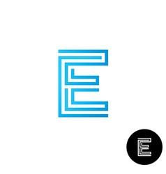Letter E maze linear style logo vector