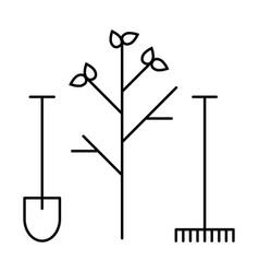 Line icon tool shovel and rake vector