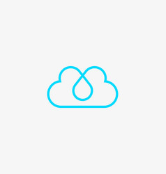 Linear cloud logo drop hearts water aqua vector