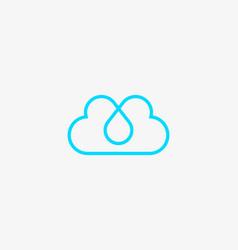 linear cloud logo drop hearts water aqua vector image