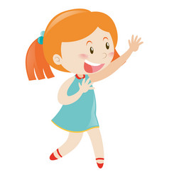 little girl in blue smiling vector image