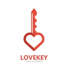 Logo with a combination of key and heart vector image