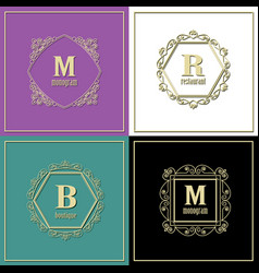 luxury golden frames set monogram logo template vector image
