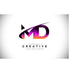 Md m d grunge letter logo with purple vibrant vector
