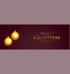 merry christmas banner with golden ball and vector image