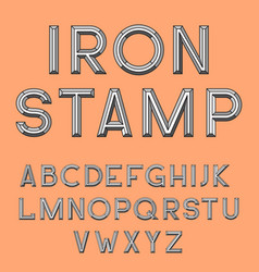 metal stamp font retro typography letterpress vector image