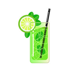 Mojito ice cubes straw lemon and mint vector