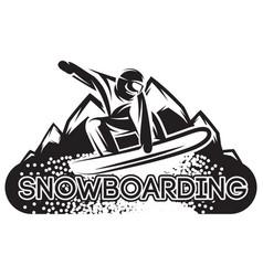 monochrome template with snowboarder vector image