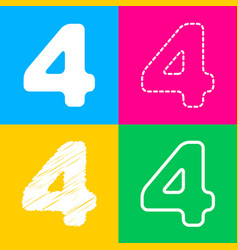 number 4 sign design template element four styles vector image
