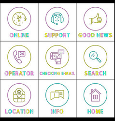 online operator support color outline icon set vector image