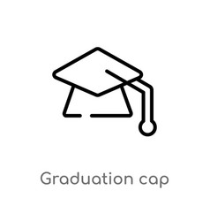outline graduation cap icon isolated black simple vector image