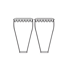 Pair of conga drums musical instrument vector