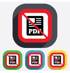 PDF file document icon No Download pdf button vector