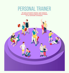 personal trainer isometric composition vector image