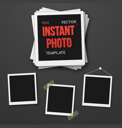 Photo blank vintage photo frame mockup set vector