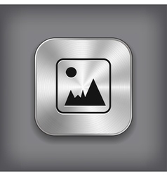 Photography icon - metal app button vector image