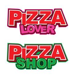 Pizza sticker logo design vector
