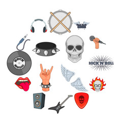 rock music icons set cartoon style vector image