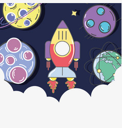 rocket in the galaxy space exploring the planets vector image